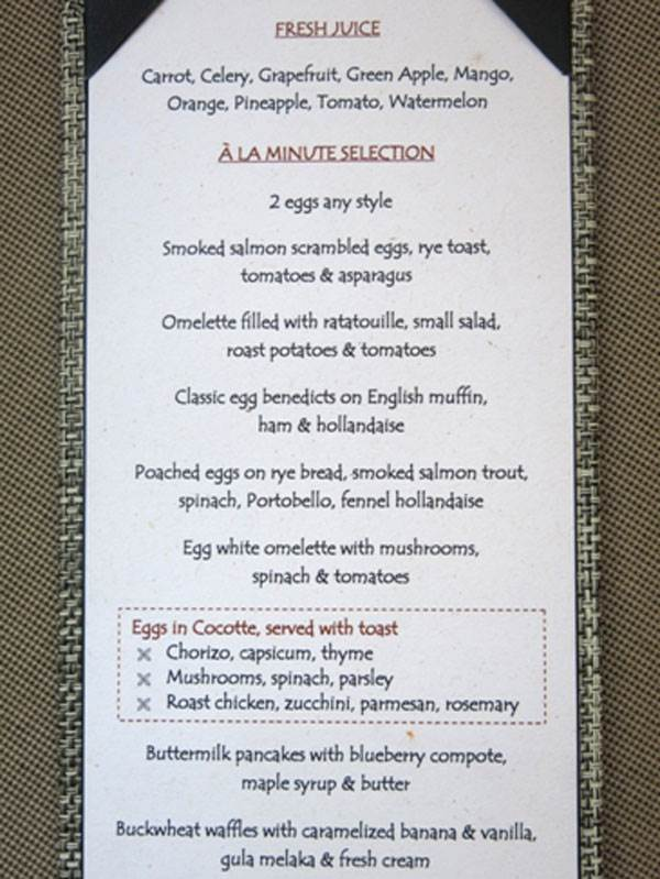Frühstückskarte
